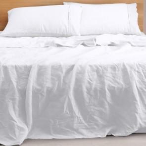White Natural Home 100% European Flax Linen Sheet Set