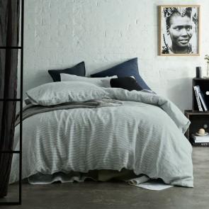 Light Grey Stripe Yarn Dyed 100% Linen Quilt Cover Sets by Vintage Design