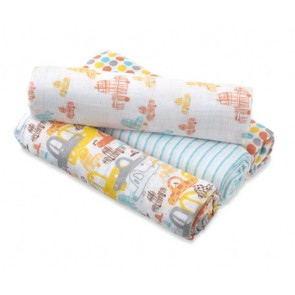 Zutano - Sunday Drive 4-pack Muslin Swaddles - Aden by Aden and Anais