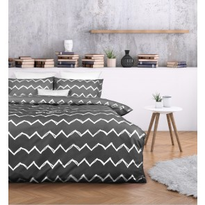 Zachary Charcoal Quilt Cover Set by Essentially Home Living